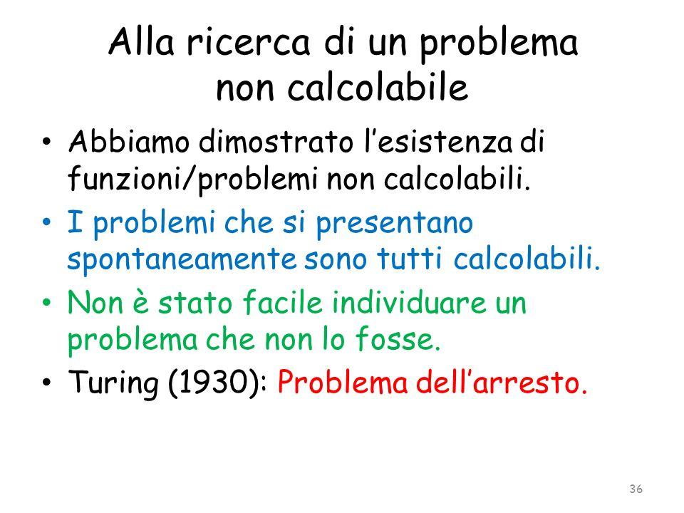 Alla ricerca di un problema non calcolabile Abbiamo dimostrato lesistenza di funzioni/problemi non calcolabili. I problemi che si presentano spontanea