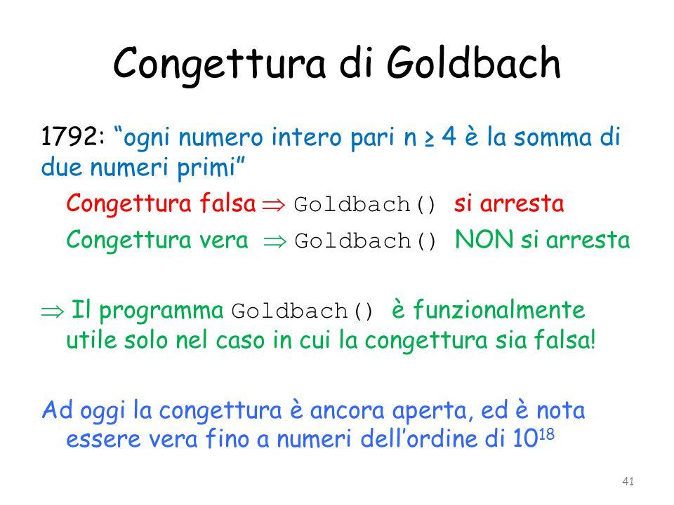 Congettura di Goldbach 1792: ogni numero intero pari n 4 è la somma di due numeri primi Congettura falsa Goldbach() si arresta Congettura vera Goldbac