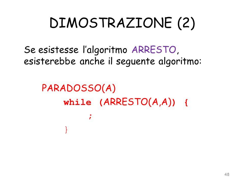 DIMOSTRAZIONE (2) Se esistesse lalgoritmo ARRESTO, esisterebbe anche il seguente algoritmo: PARADOSSO(A) while ( ARRESTO(A,A) ) { ; } 48