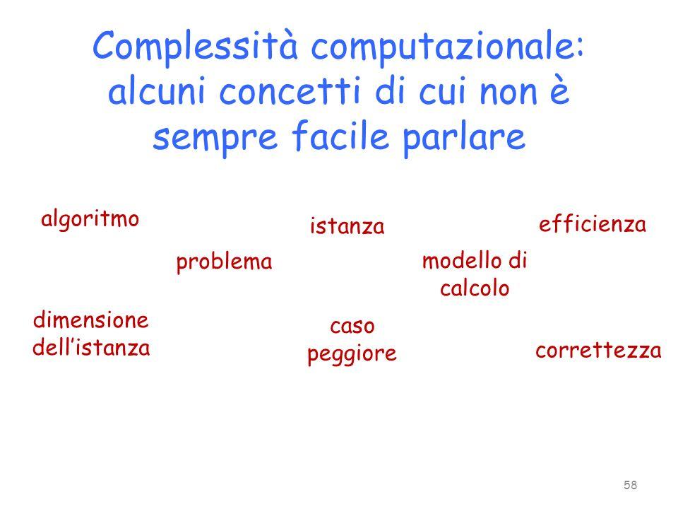 Complessità computazionale: alcuni concetti di cui non è sempre facile parlare algoritmo problema istanza modello di calcolo dimensione dellistanza ca