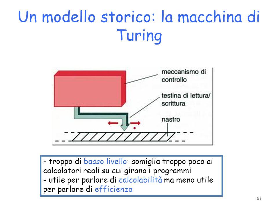 Un modello storico: la macchina di Turing - troppo di basso livello: somiglia troppo poco ai calcolatori reali su cui girano i programmi - utile per p