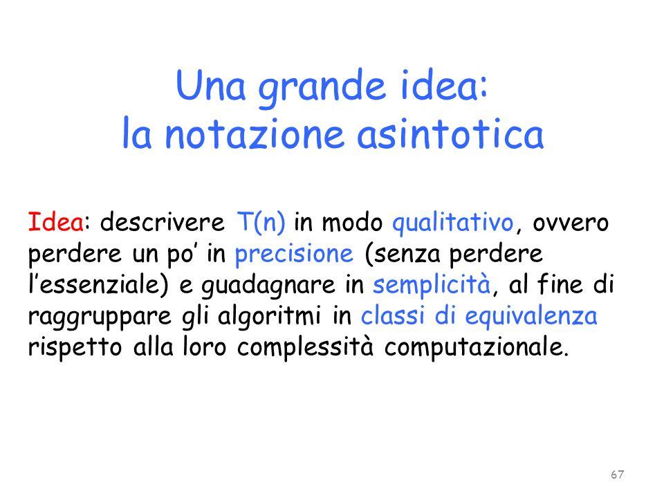 Una grande idea: la notazione asintotica 67 Idea: descrivere T(n) in modo qualitativo, ovvero perdere un po in precisione (senza perdere lessenziale)