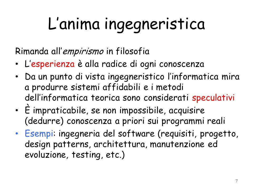 Lanima ingegneristica Rimanda allempirismo in filosofia Lesperienza è alla radice di ogni conoscenza Da un punto di vista ingegneristico linformatica