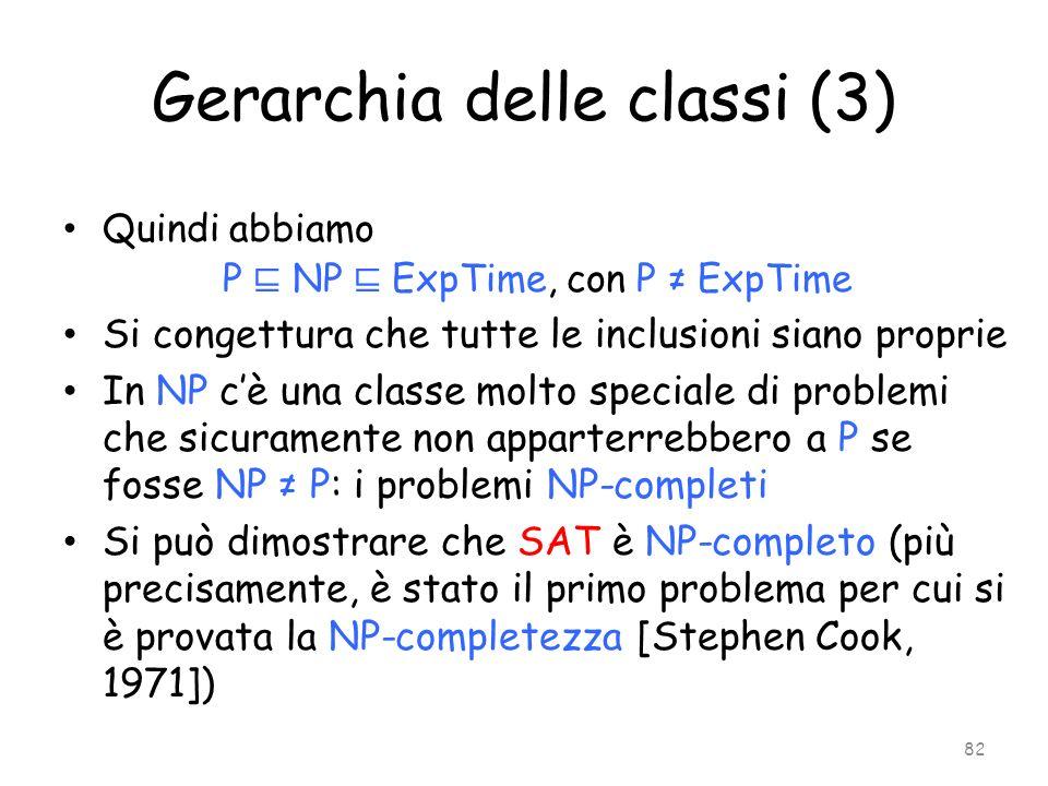 Gerarchia delle classi (3) Quindi abbiamo P NP ExpTime, con P ExpTime Si congettura che tutte le inclusioni siano proprie In NP cè una classe molto sp