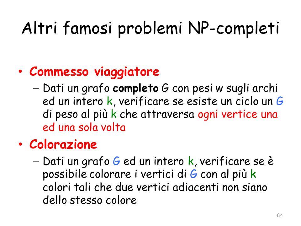 Altri famosi problemi NP-completi Commesso viaggiatore – Dati un grafo completo G con pesi w sugli archi ed un intero k, verificare se esiste un ciclo