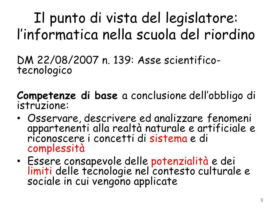 Il punto di vista del legislatore: linformatica nella scuola del riordino DM 22/08/2007 n. 139: Asse scientifico- tecnologico Competenze di base a con