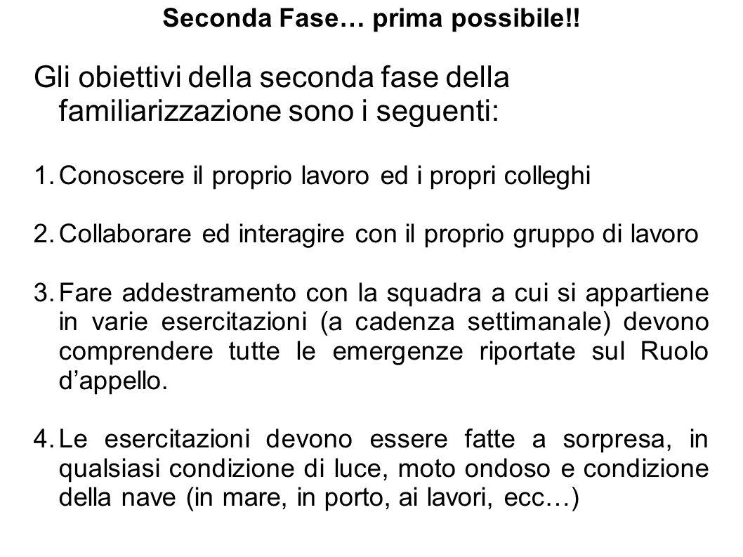 Seconda Fase… prima possibile!! Gli obiettivi della seconda fase della familiarizzazione sono i seguenti: 1.Conoscere il proprio lavoro ed i propri co