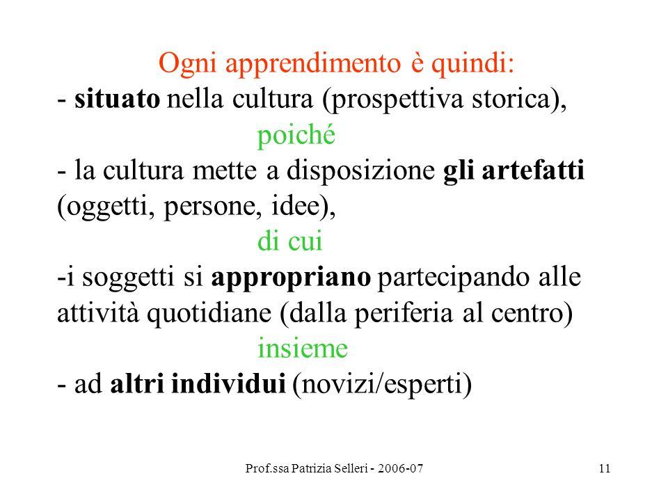 Prof.ssa Patrizia Selleri - 2006-0711 Ogni apprendimento è quindi: - situato nella cultura (prospettiva storica), poiché - la cultura mette a disposiz