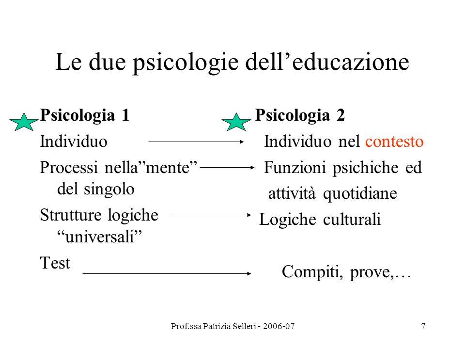 Prof.ssa Patrizia Selleri - 2006-077 Le due psicologie delleducazione Psicologia 1 Individuo Processi nellamente del singolo Strutture logiche univers