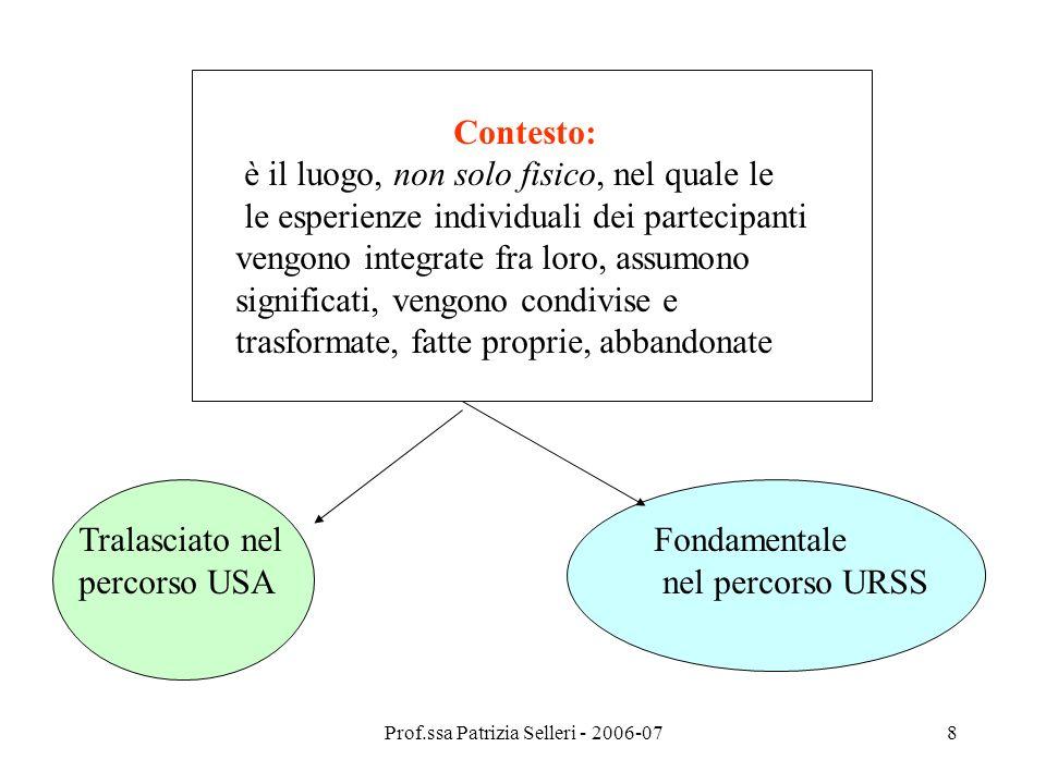 Prof.ssa Patrizia Selleri - 2006-078 Contesto: è il luogo, non solo fisico, nel quale le le esperienze individuali dei partecipanti vengono integrate