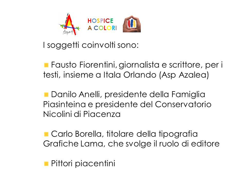 I soggetti coinvolti sono: Fausto Fiorentini, giornalista e scrittore, per i testi, insieme a Itala Orlando (Asp Azalea) Danilo Anelli, presidente del