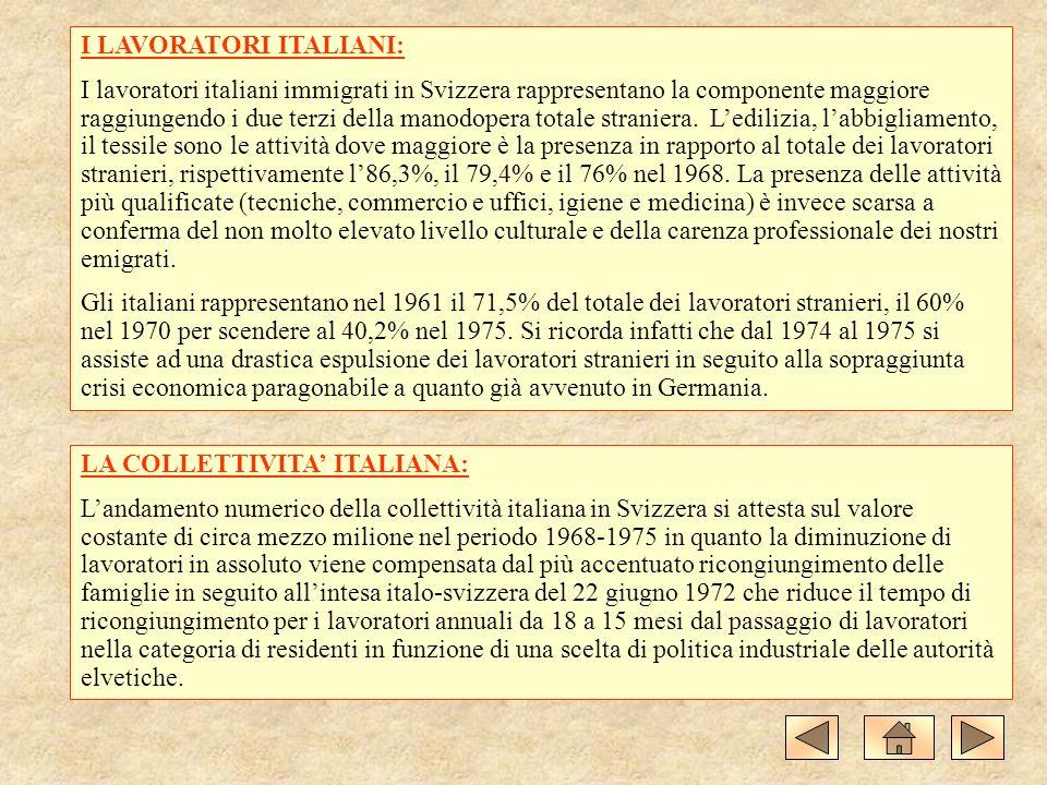 I LAVORATORI ITALIANI: I lavoratori italiani immigrati in Svizzera rappresentano la componente maggiore raggiungendo i due terzi della manodopera tota