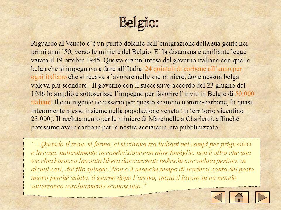 Riguardo al Veneto cè un punto dolente dellemigrazione della sua gente nei primi anni 50, verso le miniere del Belgio. E la disumana e umiliante legge