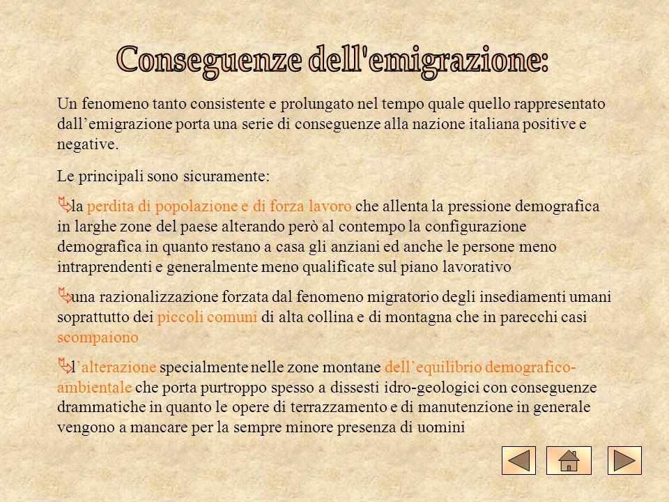 Un fenomeno tanto consistente e prolungato nel tempo quale quello rappresentato dallemigrazione porta una serie di conseguenze alla nazione italiana p