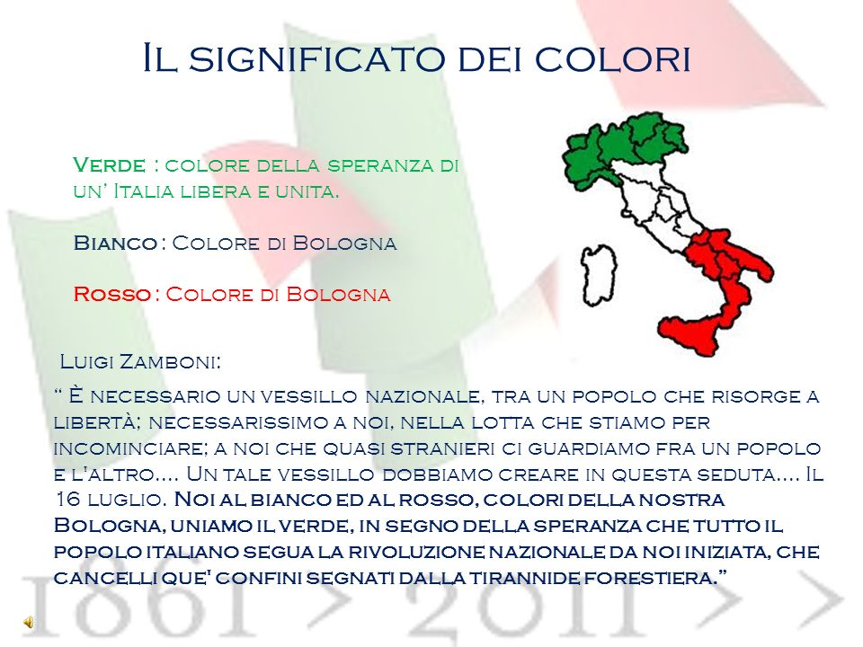 Il significato dei colori Verde : colore della speranza di un Italia libera e unita.