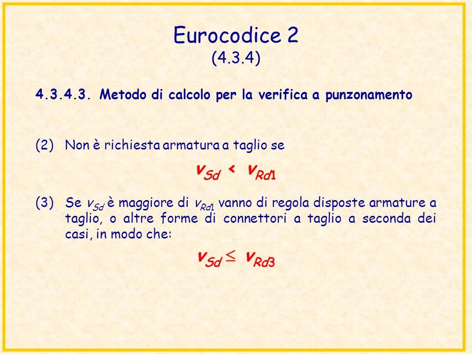 Eurocodice 2 (4.3.4) 4.3.4.3.Metodo di calcolo per la verifica a punzonamento (2)Non è richiesta armatura a taglio se v Sd < v Rd1 (3)Se v Sd è maggio