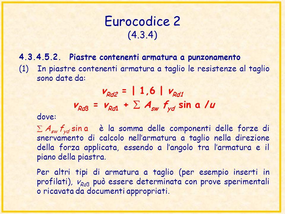 Eurocodice 2 (4.3.4) 4.3.4.5.2.Piastre contenenti armatura a punzonamento (1) In piastre contenenti armatura a taglio le resistenze al taglio sono dat