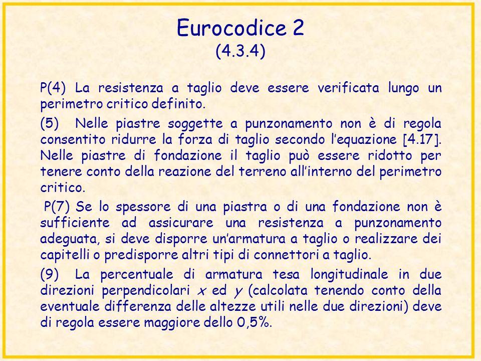 Eurocodice 2 (4.3.4) P(4)La resistenza a taglio deve essere verificata lungo un perimetro critico definito. (5)Nelle piastre soggette a punzonamento n