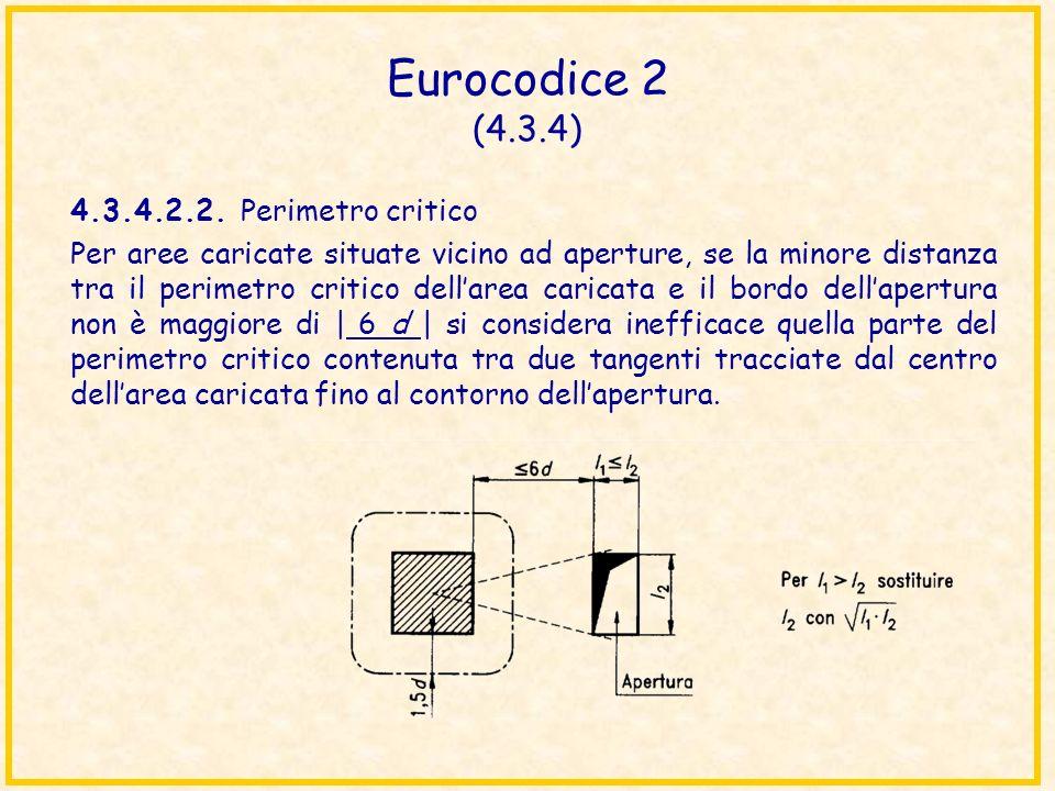 Eurocodice 2 (4.3.4) 4.3.4.2.2. Perimetro critico Per aree caricate situate vicino ad aperture, se la minore distanza tra il perimetro critico dellare