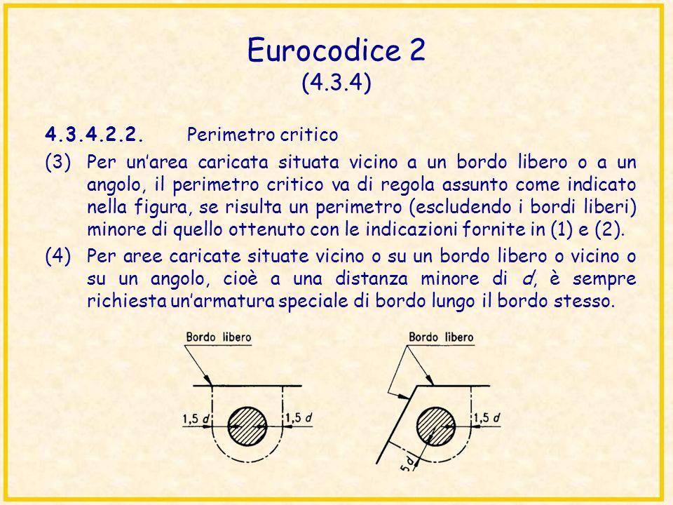 Eurocodice 2 (4.3.4) 4.3.4.2.2. Perimetro critico (3)Per unarea caricata situata vicino a un bordo libero o a un angolo, il perimetro critico va di re