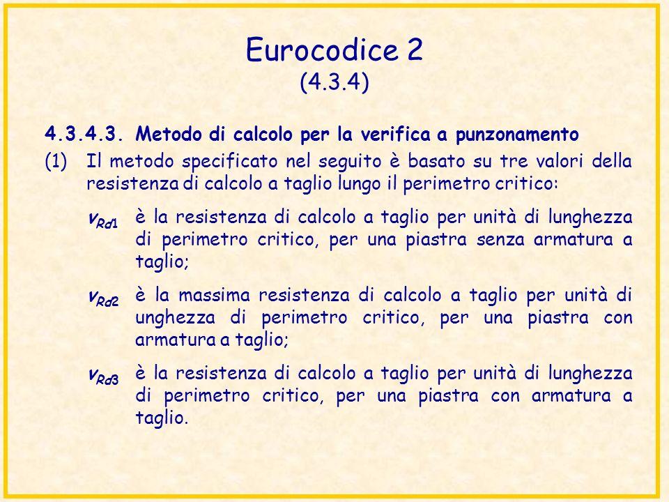 Eurocodice 2 (4.3.4) 4.3.4.3.Metodo di calcolo per la verifica a punzonamento (1)Il metodo specificato nel seguito è basato su tre valori della resist