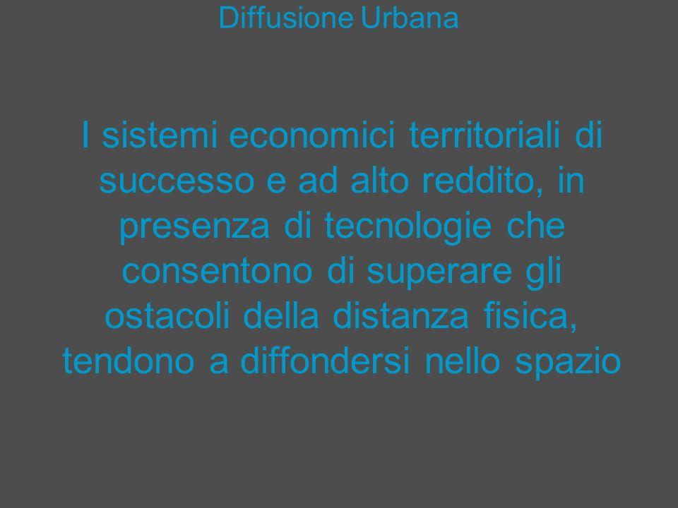 Diffusione Urbana I sistemi economici territoriali di successo e ad alto reddito, in presenza di tecnologie che consentono di superare gli ostacoli de