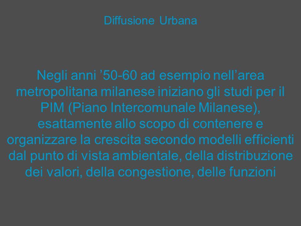 Diffusione Urbana Negli anni 50-60 ad esempio nellarea metropolitana milanese iniziano gli studi per il PIM (Piano Intercomunale Milanese), esattament