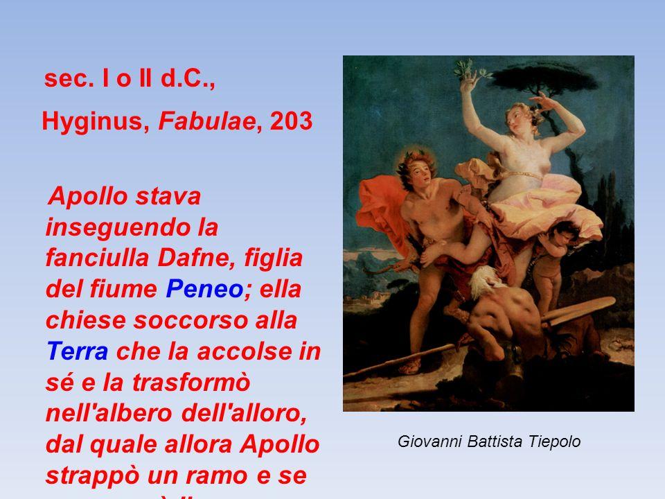 Luciano (120-180 d.C.), Dialoghi, 15 (17) Ermete e Apollo […] Apollo : Ma anche in altro modo ho sfortuna in amore: pensa ai due che ho amato di più, a Dafne e a Giacinto.