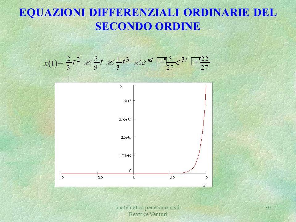 matematica per economisti Beatrice Venturi 30 EQUAZIONI DIFFERENZIALI ORDINARIE DEL SECONDO ORDINE x(t)=