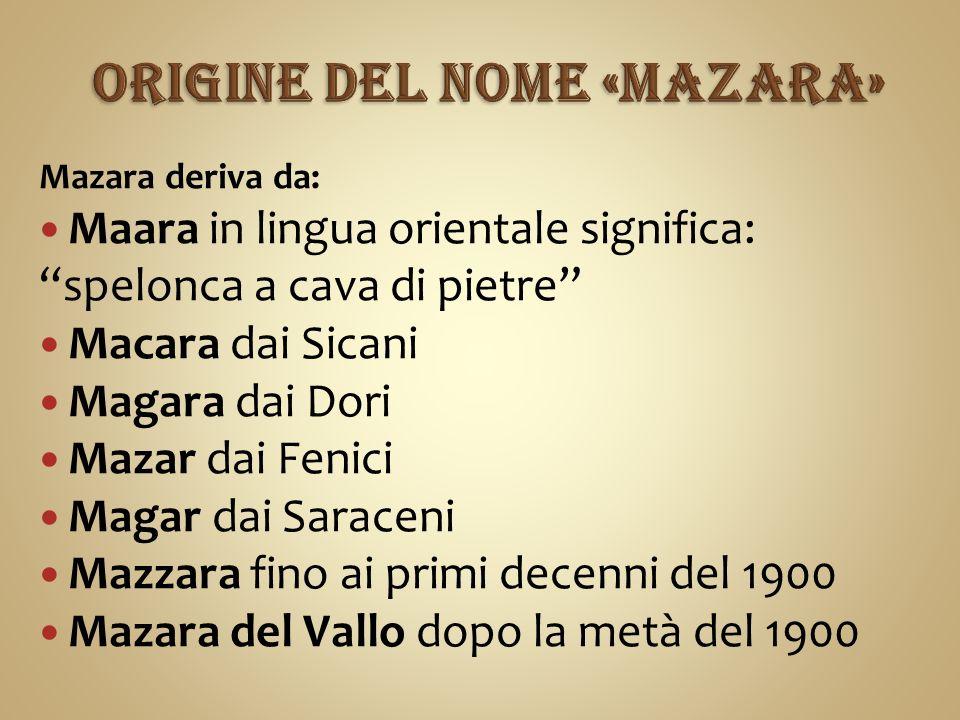 Mazara deriva da: Maara in lingua orientale significa: spelonca a cava di pietre Macara dai Sicani Magara dai Dori Mazar dai Fenici Magar dai Saraceni Mazzara fino ai primi decenni del 1900 Mazara del Vallo dopo la metà del 1900