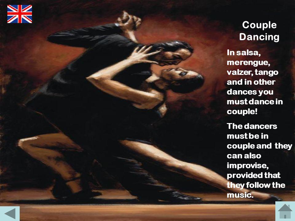 Balli di Coppia I balli di coppia possono essere di tanti tipi: dalla salsa, al valzer, dal merengue al tango, ecc… I ballerini devono essere in coppi