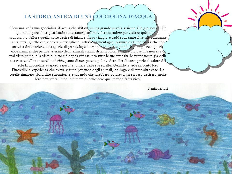 LA STORIA ANTICA DI UNA GOCCIOLINA DACQUA Cera una volta una gocciolina dacqua che abitava in una grande nuvola assieme alle sue sorelle. Un giorno la