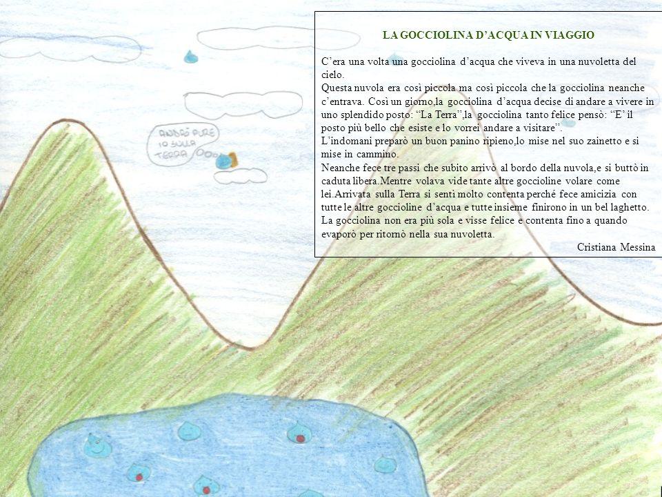 LA GOCCIOLINA DACQUA IN VIAGGIO Cera una volta una gocciolina dacqua che viveva in una nuvoletta del cielo. Questa nuvola era così piccola ma così pic