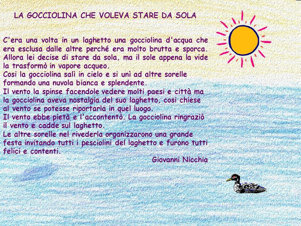 LA GOCCIOLINA CHE VOLEVA STARE DA SOLA C'era una volta in un laghetto una gocciolina d'acqua che era esclusa dalle altre perché era molto brutta e spo