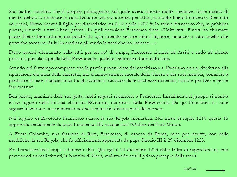 La città di Assisi, in provincia di Perugia, è nota soprattutto per aver dato i natali a s. Francesco e a s. Chiara. È posta a circa 400 m s.l.m., sul