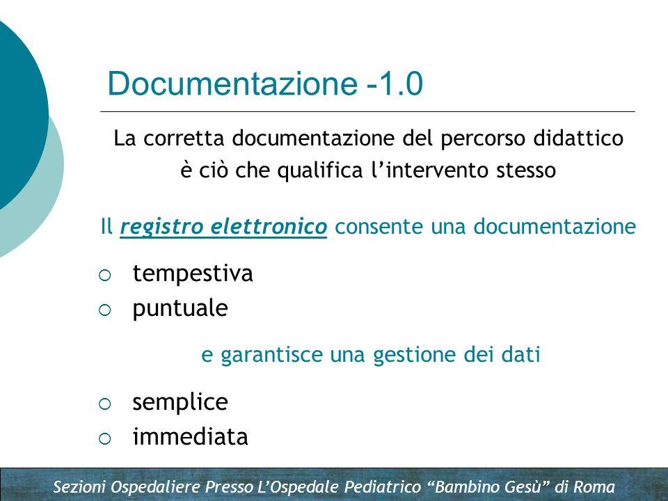 Sezioni Ospedaliere Presso LOspedale Pediatrico Bambino Gesù di Roma La corretta documentazione del percorso didattico è ciò che qualifica lintervento