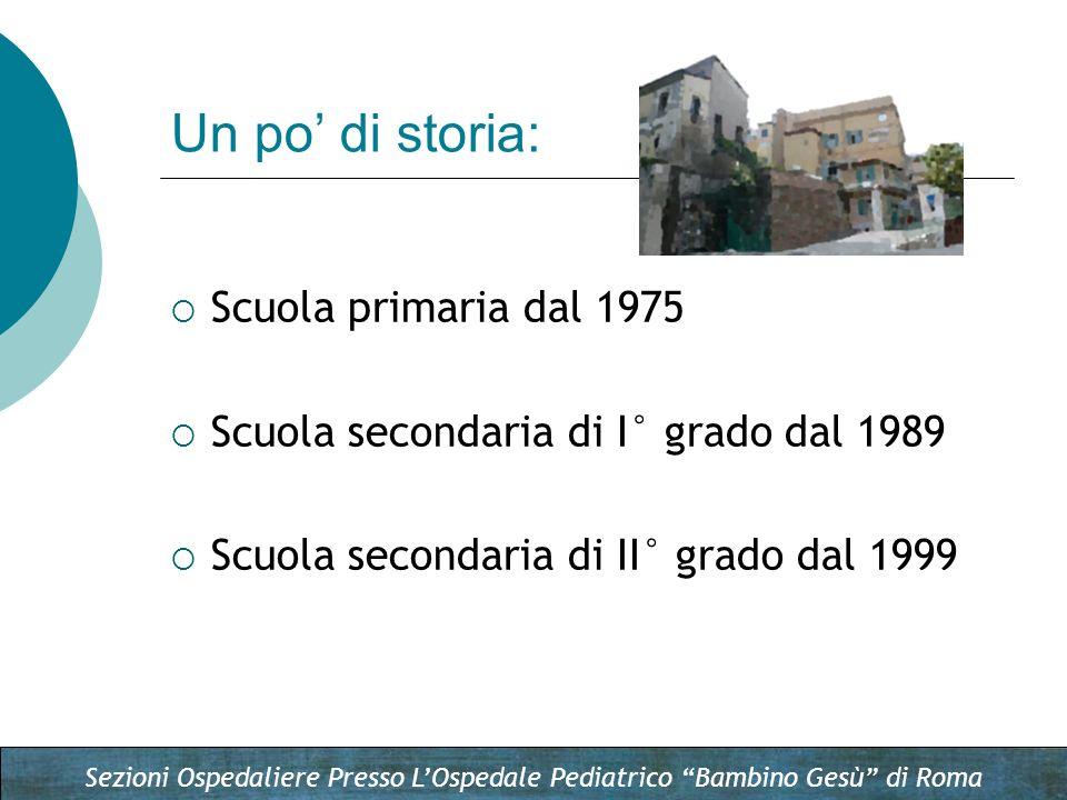 Sezioni Ospedaliere Presso LOspedale Pediatrico Bambino Gesù di Roma Un po di storia: Scuola primaria dal 1975 Scuola secondaria di I° grado dal 1989