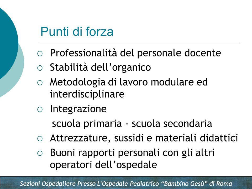 Sezioni Ospedaliere Presso LOspedale Pediatrico Bambino Gesù di Roma Professionalità del personale docente Stabilità dellorganico Metodologia di lavor
