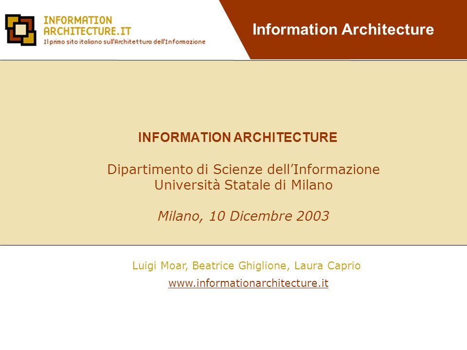 Information Architecture Finalità: Suddividere i contenuti da proporre sul sito in aree e sezioni.