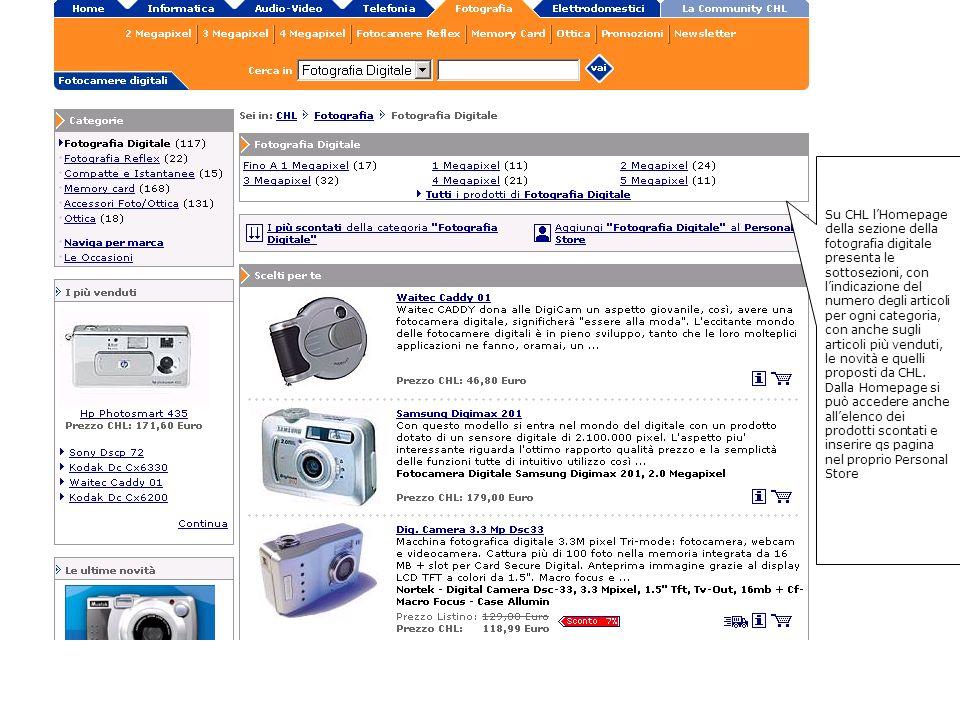 Su CHL lHomepage della sezione della fotografia digitale presenta le sottosezioni, con lindicazione del numero degli articoli per ogni categoria, con anche sugli articoli più venduti, le novità e quelli proposti da CHL.