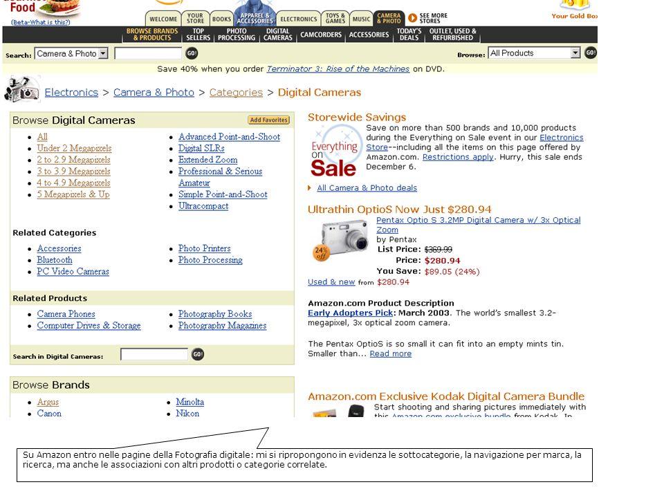 Su Amazon entro nelle pagine della Fotografia digitale: mi si ripropongono in evidenza le sottocategorie, la navigazione per marca, la ricerca, ma anche le associazioni con altri prodotti o categorie correlate.