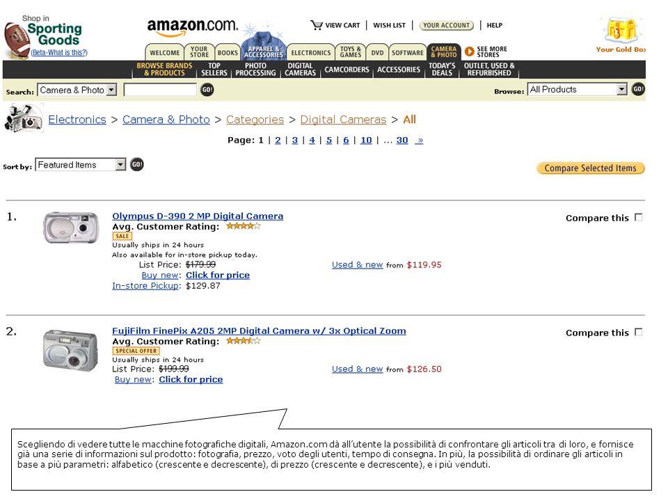 Scegliendo di vedere tutte le macchine fotografiche digitali, Amazon.com dà allutente la possibilità di confrontare gli articoli tra di loro, e fornisce già una serie di informazioni sul prodotto: fotografia, prezzo, voto degli utenti, tempo di consegna.