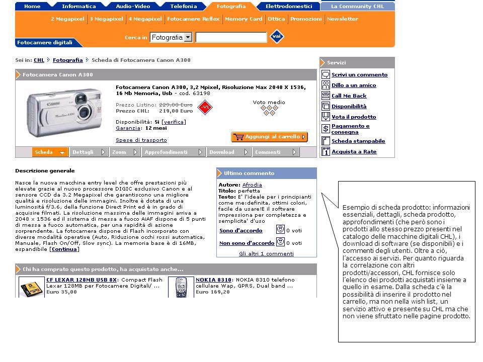 Esempio di scheda prodotto: informazioni essenziali, dettagli, scheda prodotto, approfondimenti (che però sono i prodotti allo stesso prezzo presenti nel catalogo delle macchine digitali CHL), i download di software (se disponibili) e i commenti degli utenti.