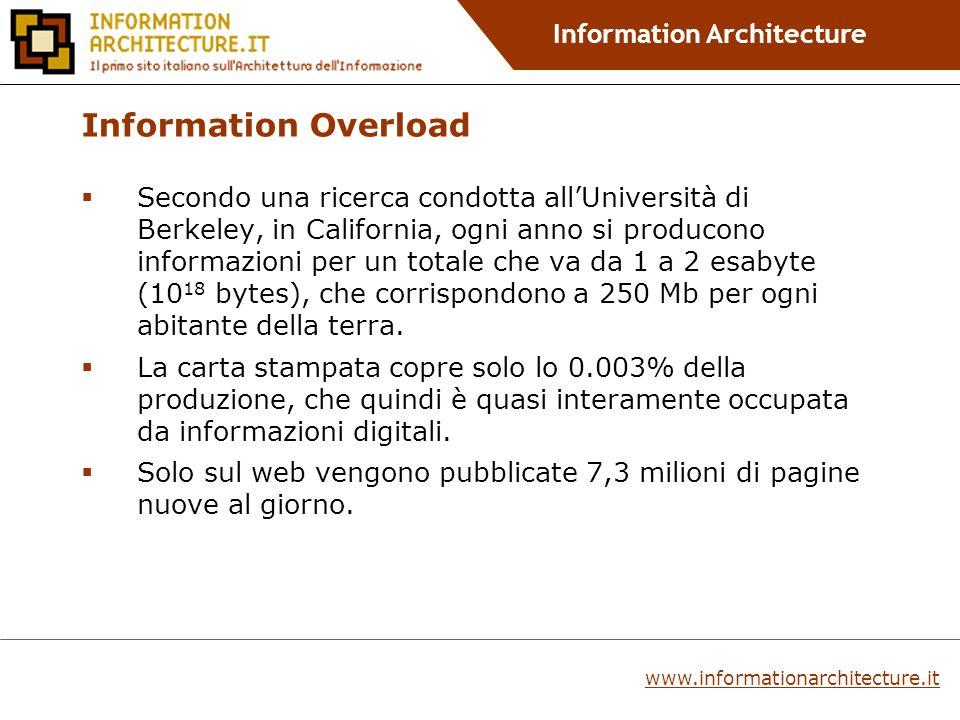 Information Architecture www.informationarchitecture.it Information Overload Secondo una ricerca condotta allUniversità di Berkeley, in California, ogni anno si producono informazioni per un totale che va da 1 a 2 esabyte (10 18 bytes), che corrispondono a 250 Mb per ogni abitante della terra.