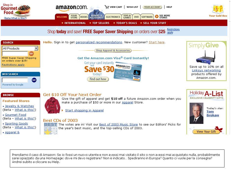 Prendiamo il caso di Amazon: Se io fossi un nuovo utente e non avessi mai visitato il sito o non avessi mai acquistato nulla, probabilmente sarei spiazzato da una Homepage: dove mi devo registrare.
