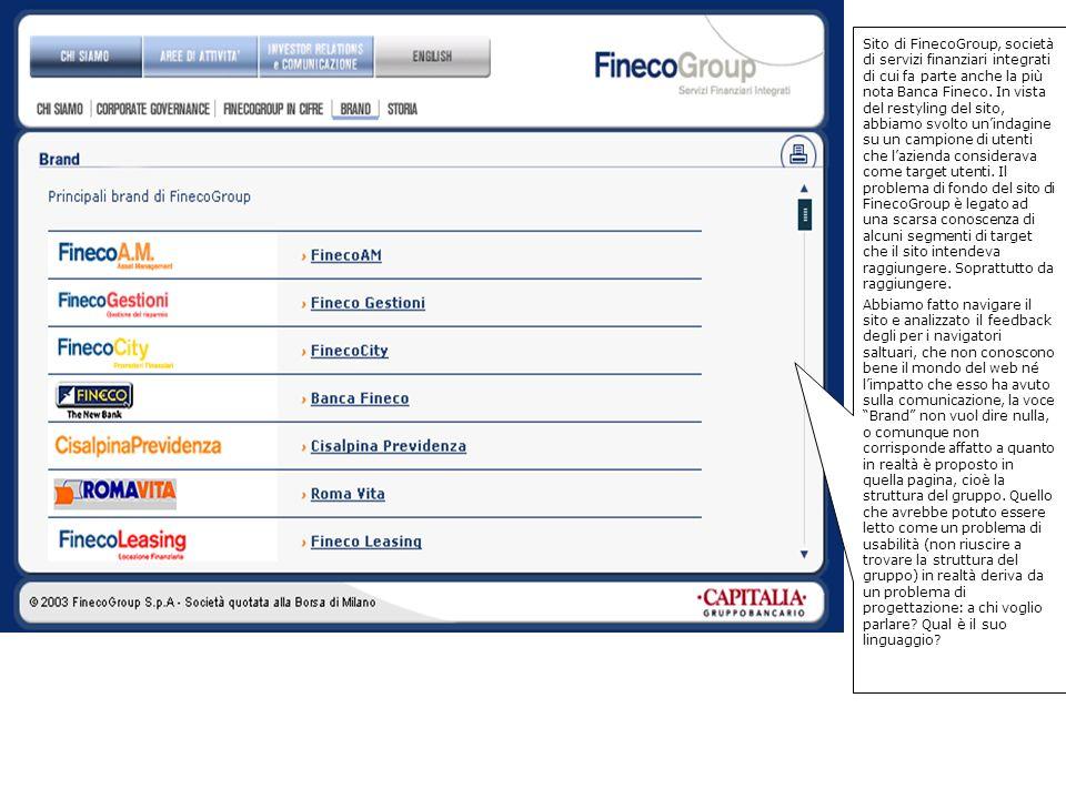 Sito di FinecoGroup, società di servizi finanziari integrati di cui fa parte anche la più nota Banca Fineco.