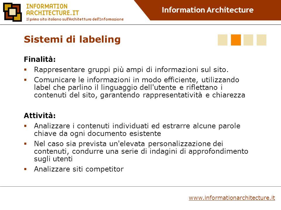 Information Architecture Finalità: Rappresentare gruppi più ampi di informazioni sul sito.