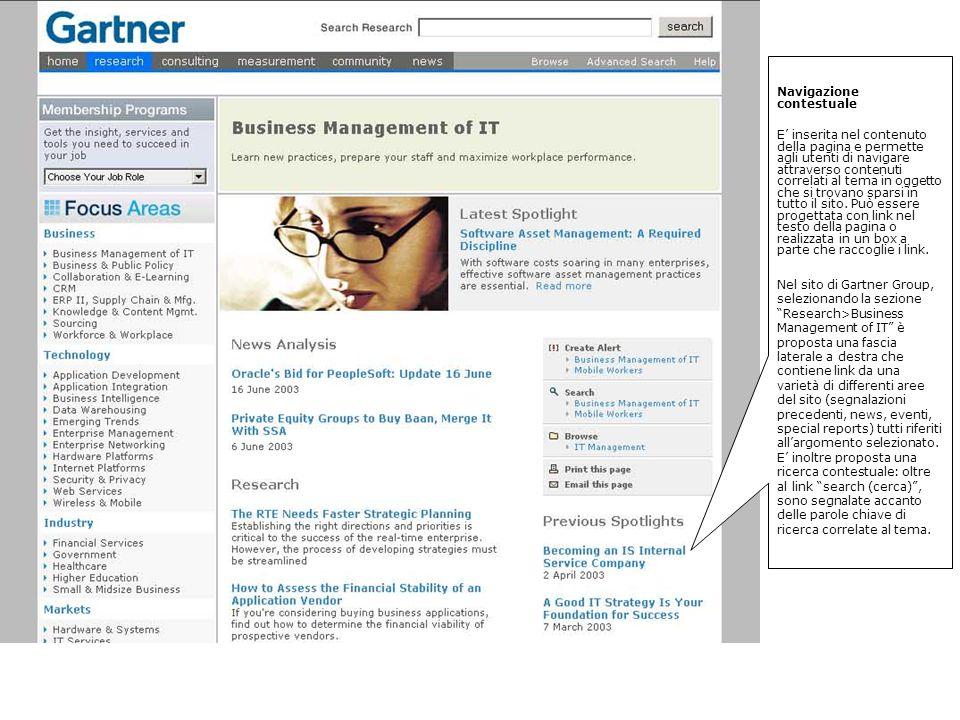 Navigazione contestuale E inserita nel contenuto della pagina e permette agli utenti di navigare attraverso contenuti correlati al tema in oggetto che si trovano sparsi in tutto il sito.