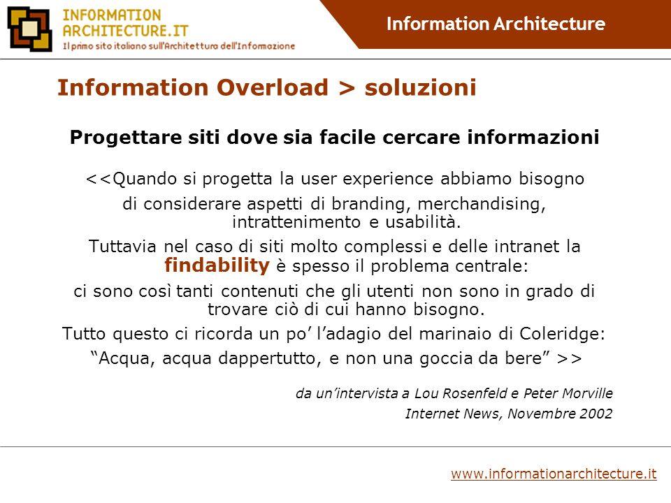 Information Architecture Sistemi di navigazione centrata sugli utenti Navigazione customizzata Lutente registrato ha il controllo diretto sulla combinazione e presentazione dei contenuti di un sito e sulla navigazione.