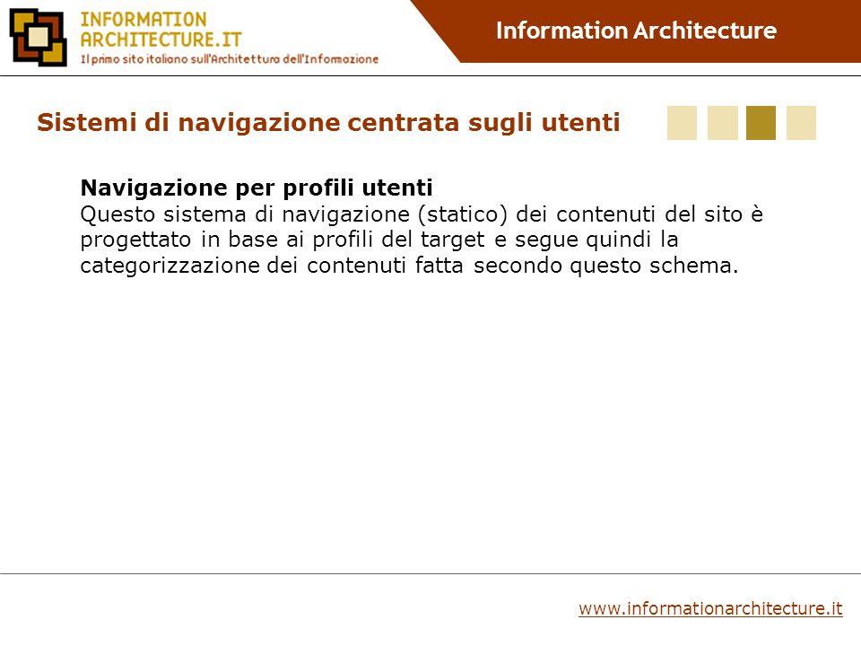 Information Architecture Sistemi di navigazione centrata sugli utenti Navigazione per profili utenti Questo sistema di navigazione (statico) dei contenuti del sito è progettato in base ai profili del target e segue quindi la categorizzazione dei contenuti fatta secondo questo schema.
